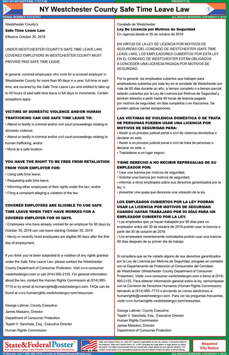 NY Westchester Safe Time Leave Law (Bilingual) - State and Federal Poster