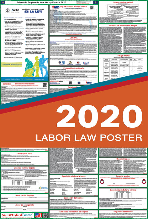 New York State and Federal Labor Law Poster 2020 (SPANISH) - State and Federal Poster