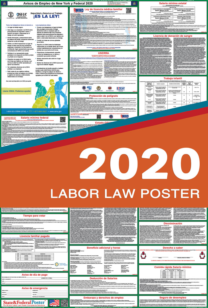 New York State and Federal Labor Law Poster 2020 (SPANISH) - PREORDER - State and Federal Poster