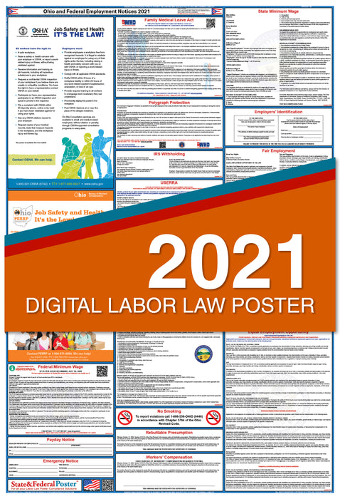 Digital Ohio State and Federal Labor Law Poster 2021