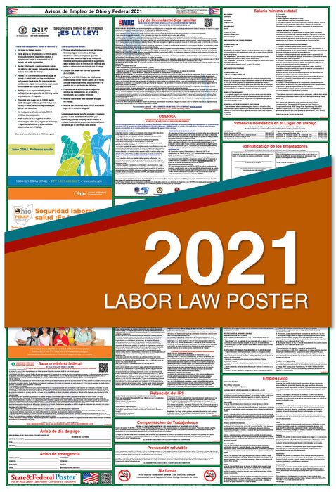 Ohio State and Federal Labor Law Poster 2021 (SPANISH)