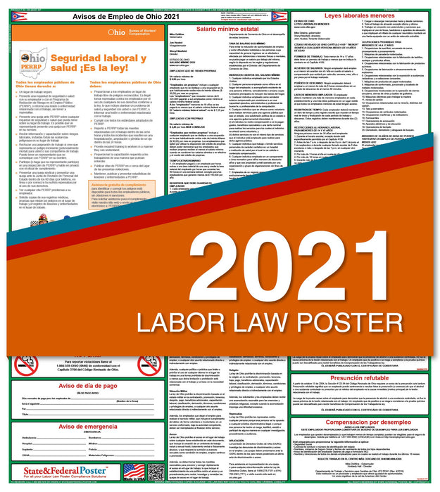Ohio State Labor Law Poster 2021 (Spanish)