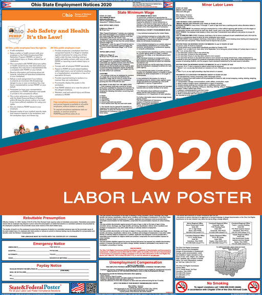 Ohio State Labor Law Poster 2020 - State and Federal Poster