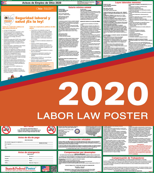 Ohio State Labor Law Poster 2020 (SPANISH) - State and Federal Poster