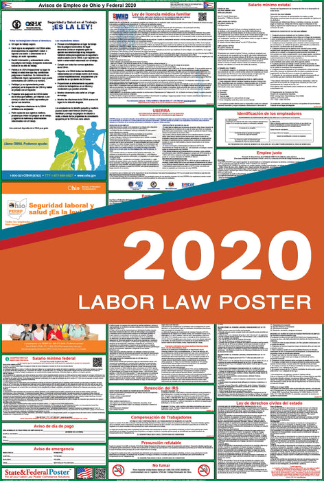 Ohio State and Federal Labor Law Poster 2020 (SPANISH) - State and Federal Poster