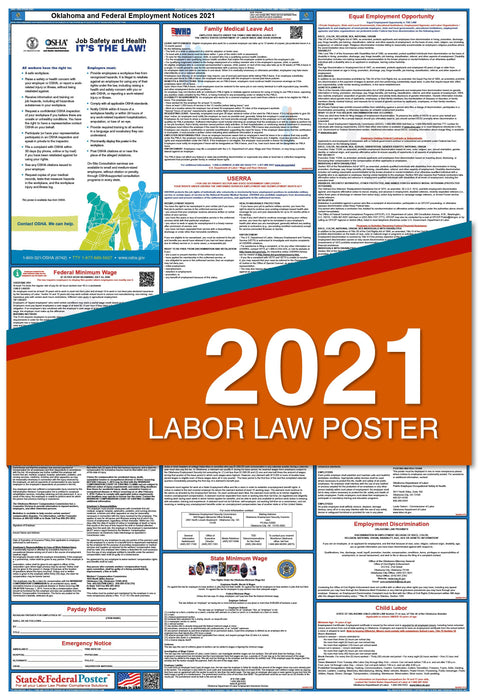 Oklahoma State and Federal Labor Law Poster 2021