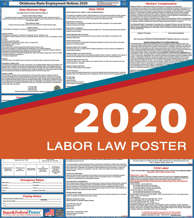 Oklahoma State Labor Law Poster 2020 - State and Federal Poster