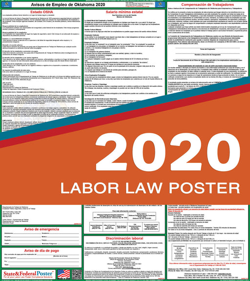 Oklahoma State Labor Law Poster 2020 (SPANISH) - State and Federal Poster