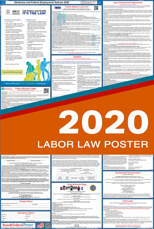Oklahoma State and Federal Labor Law Poster 2020 - State and Federal Poster