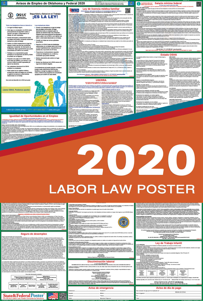 Oklahoma State and Federal Labor Law Poster 2020 (SPANISH) - State and Federal Poster