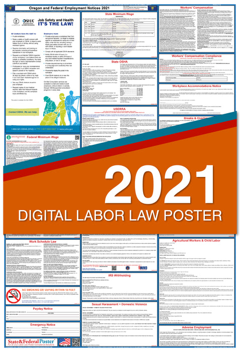 Digital Oregon State and Federal Labor Law Poster 2021
