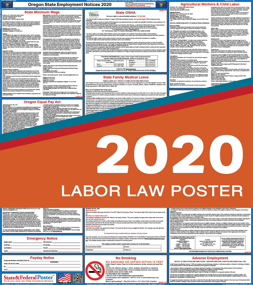 Oregon State Labor Law Poster 2020 - State and Federal Poster