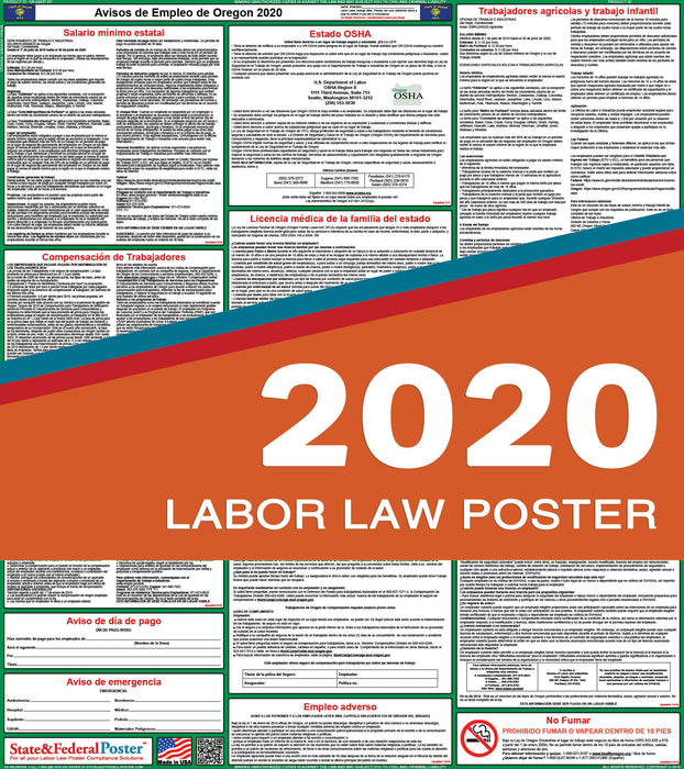 Oregon State Labor Law Poster 2020 (SPANISH) - State and Federal Poster