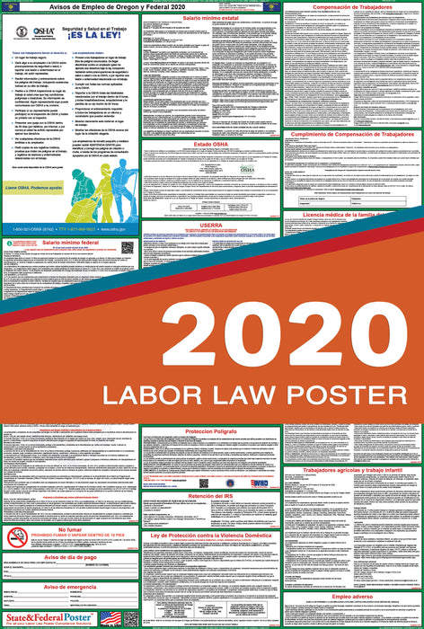 Oregon State and Federal Labor Law Poster 2020 (SPANISH) - State and Federal Poster