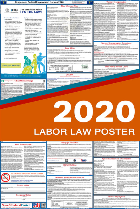 Oregon State and Federal Labor Law Poster 2020 - State and Federal Poster