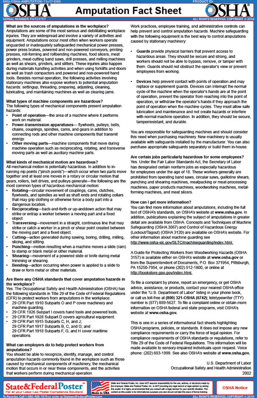 OSHA Amputation Fact Sheet - State and Federal Poster