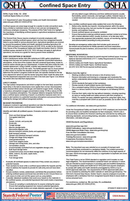 OSHA Confined Space Fact Sheet - State and Federal Poster