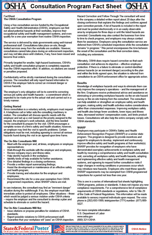 OSHA Consultation Program Fact Sheet - State and Federal Poster
