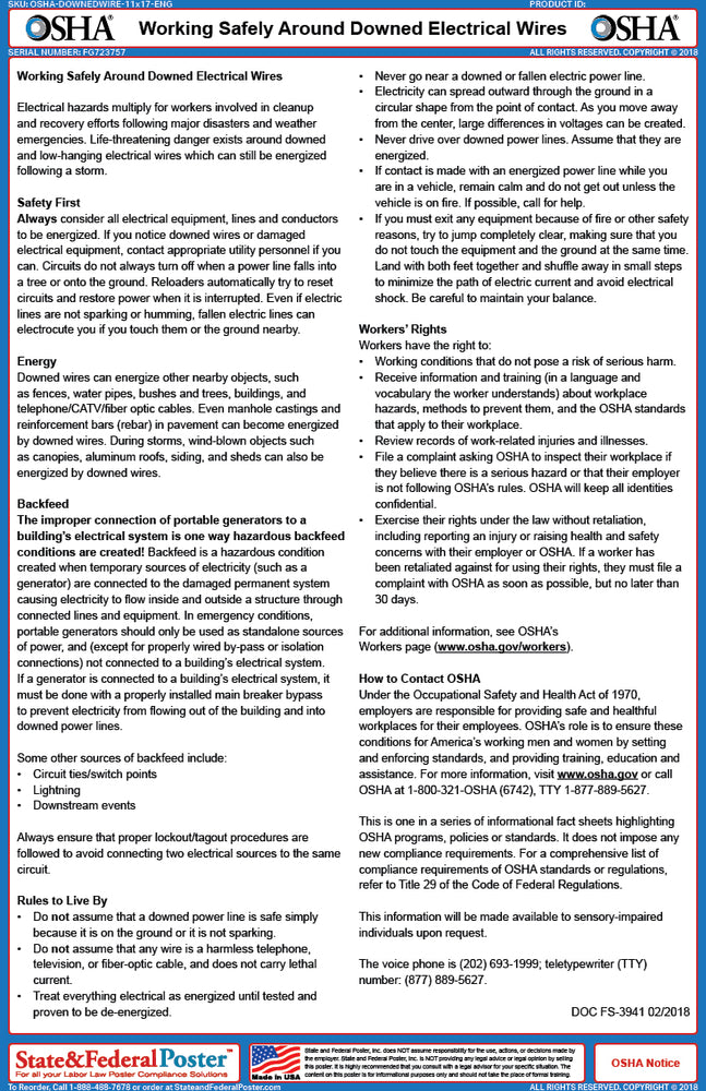 OSHA Downed Electrical Wires Fact Sheet - State and Federal Poster