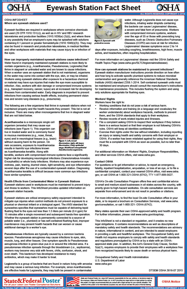 OSHA Eyewash Station Fact Sheet - State and Federal Poster