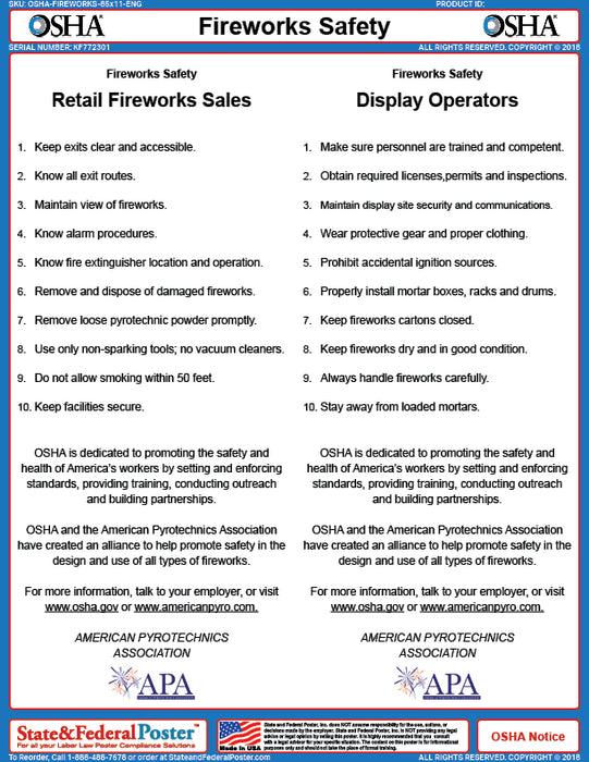 OSHA Fireworks Safety Fact Sheet - State and Federal Poster