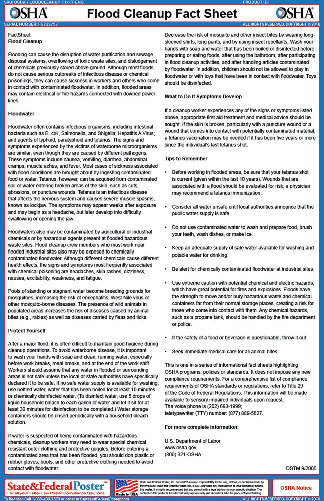 OSHA Flood Cleanup Fact Sheet - State and Federal Poster