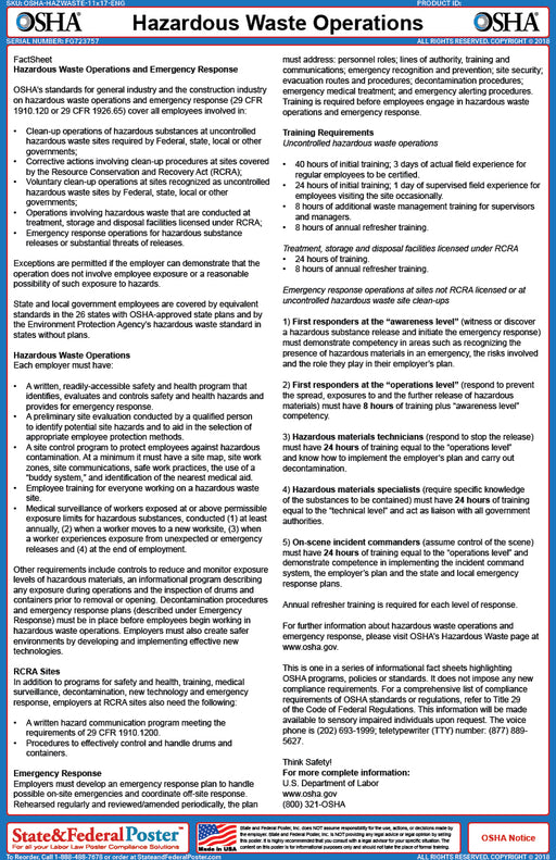 OSHA Hazardous Waste Operations Fact Sheet - State and Federal Poster