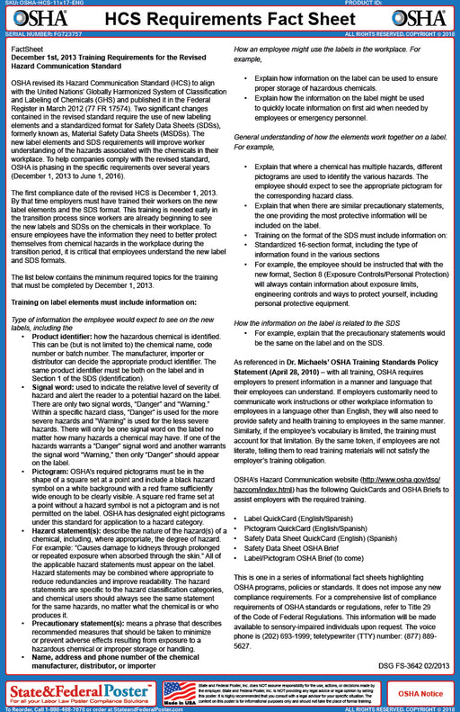 OSHA HCS Requirements Fact Sheet - State and Federal Poster