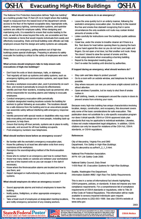 OSHA High Rise Building Evacuation Fact Sheet - State and Federal Poster
