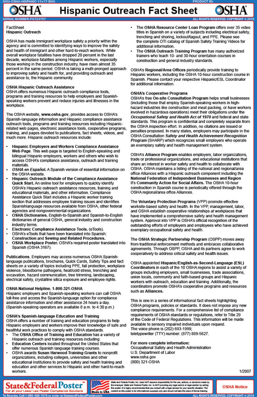OSHA Hispanic Outreach Fact Sheet - State and Federal Poster