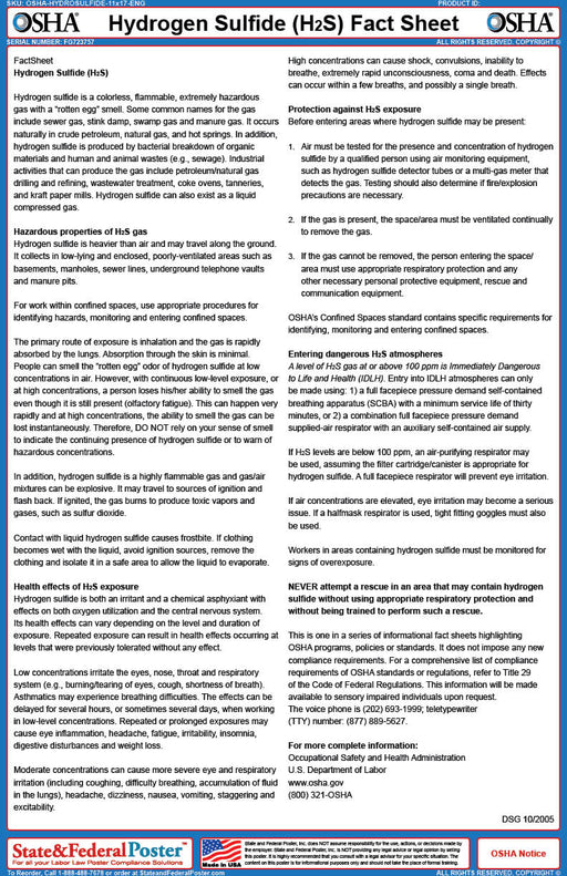 OSHA Hydrogen Sulfide Fact Sheet - State and Federal Poster