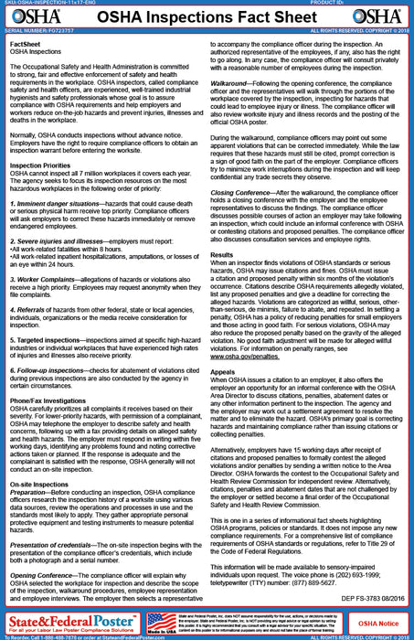 OSHA Inspections Fact Sheet - State and Federal Poster