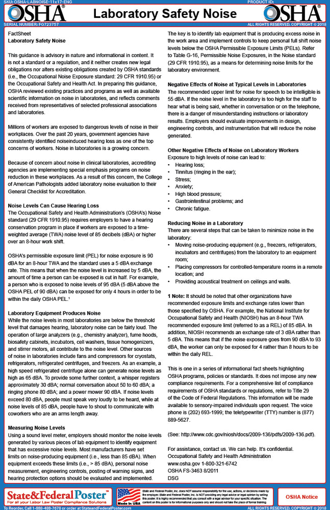 OSHA Laboratory Safety Noise Fact Sheet - State and Federal Poster