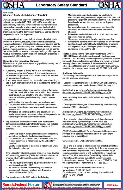 OSHA Laboratory Safety Fact Sheet - State and Federal Poster