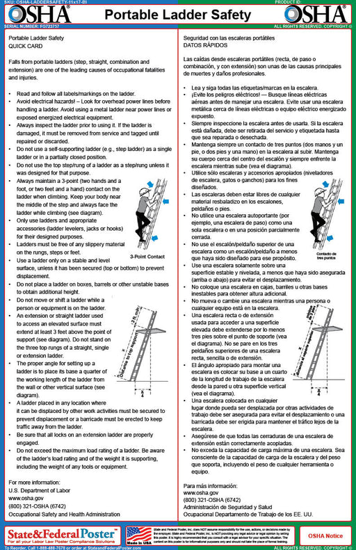 OSHA Portable Ladder Safety Fact Sheet (Bilingual) - State and Federal Poster