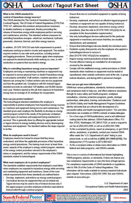 OSHA Lockout / Tagout Fact Sheet - State and Federal Poster