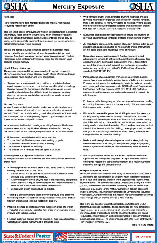 OSHA Mercury Exposure Fact Sheet - State and Federal Poster