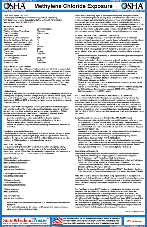 OSHA Methylene Chloride Exposure Fact Sheet - State and Federal Poster