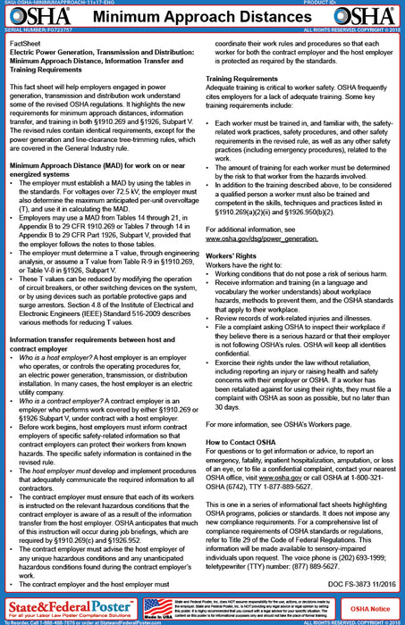 OSHA Minimum Approach Distances Fact Sheet - State and Federal Poster