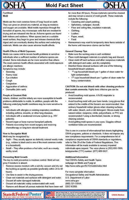 OSHA Mold Fact Sheet - State and Federal Poster