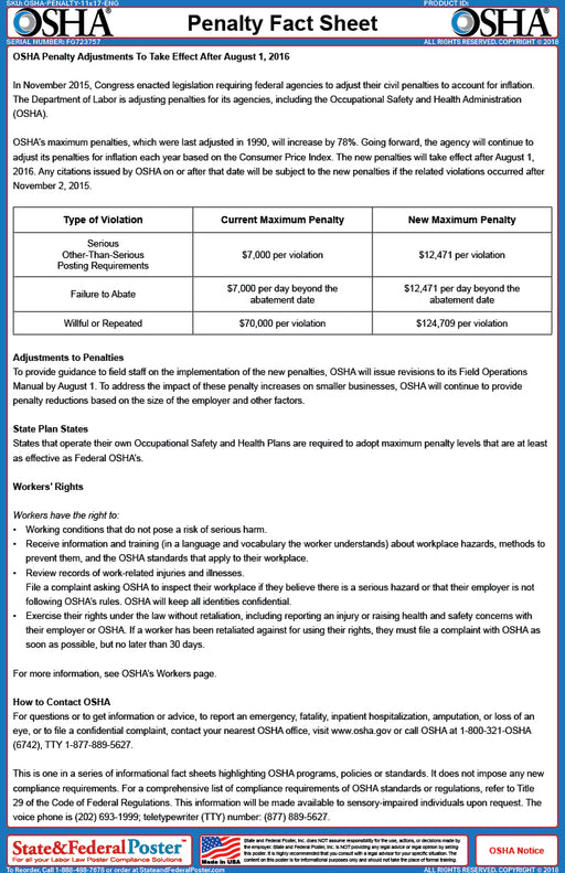 OSHA Penalty Fact Sheet - State and Federal Poster