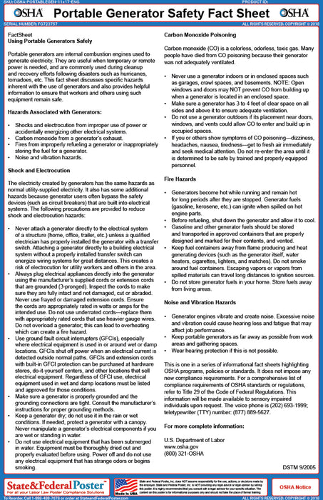 OSHA Portable Generator Safety Fact Sheet - State and Federal Poster