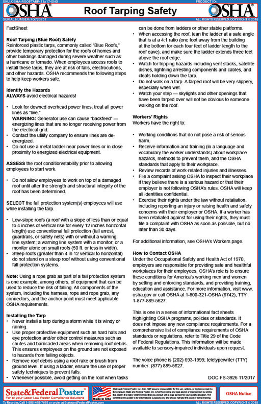 OSHA Roof Tarping Safety Fact Sheet - State and Federal Poster
