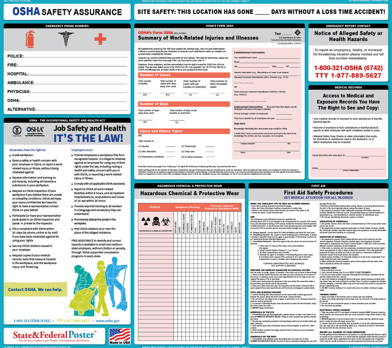 OSHA Safety Assurance Poster - State and Federal Poster