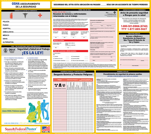 OSHA Safety Assurance Poster - SPANISH - State and Federal Poster