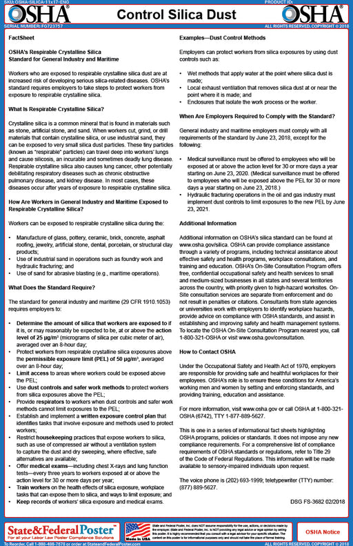 OSHA Control Silica Dust Fact Sheet - State and Federal Poster