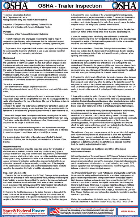 OSHA Trailer Inspection Fact Sheet - State and Federal Poster