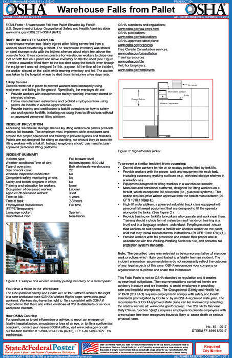 OSHA Warehouse Falls from Pallet Fact Sheet - State and Federal Poster