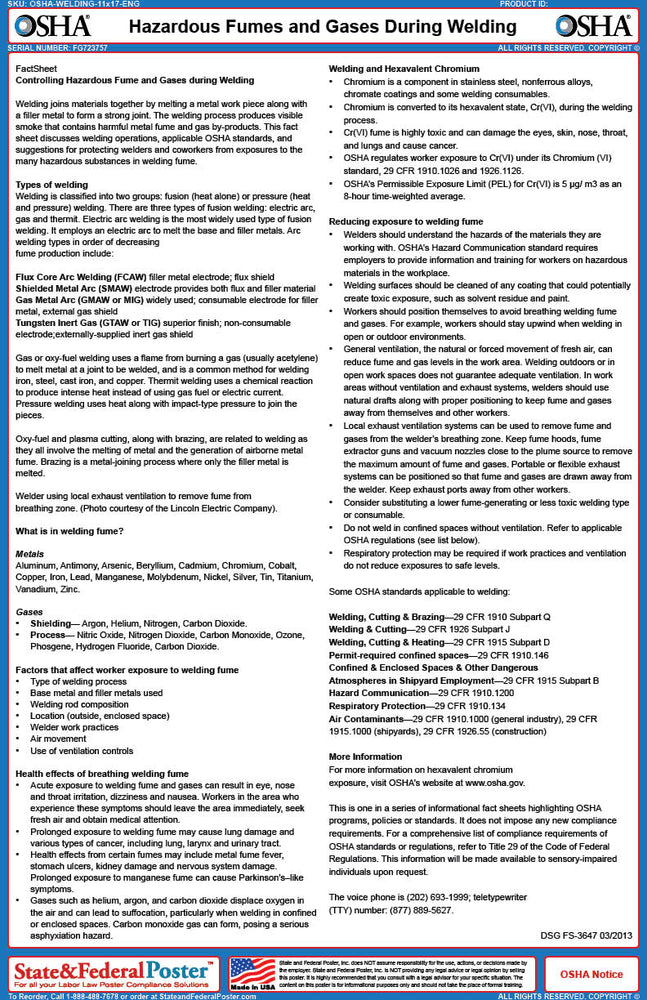 OSHA Hazardous Fume and Gases During Welding Fact Sheet - State and Federal Poster