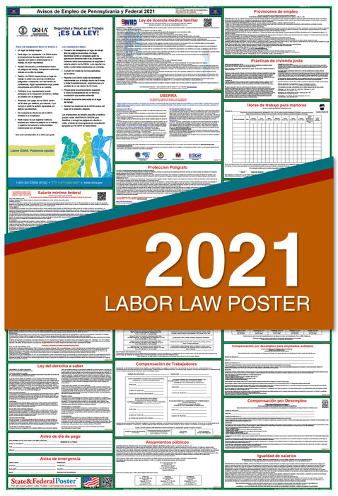 Pennsylvania State and Federal Labor Law Poster 2021 (SPANISH)